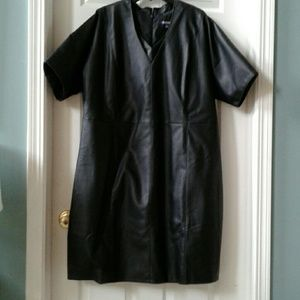 Black faux leather, fully-lined dress.